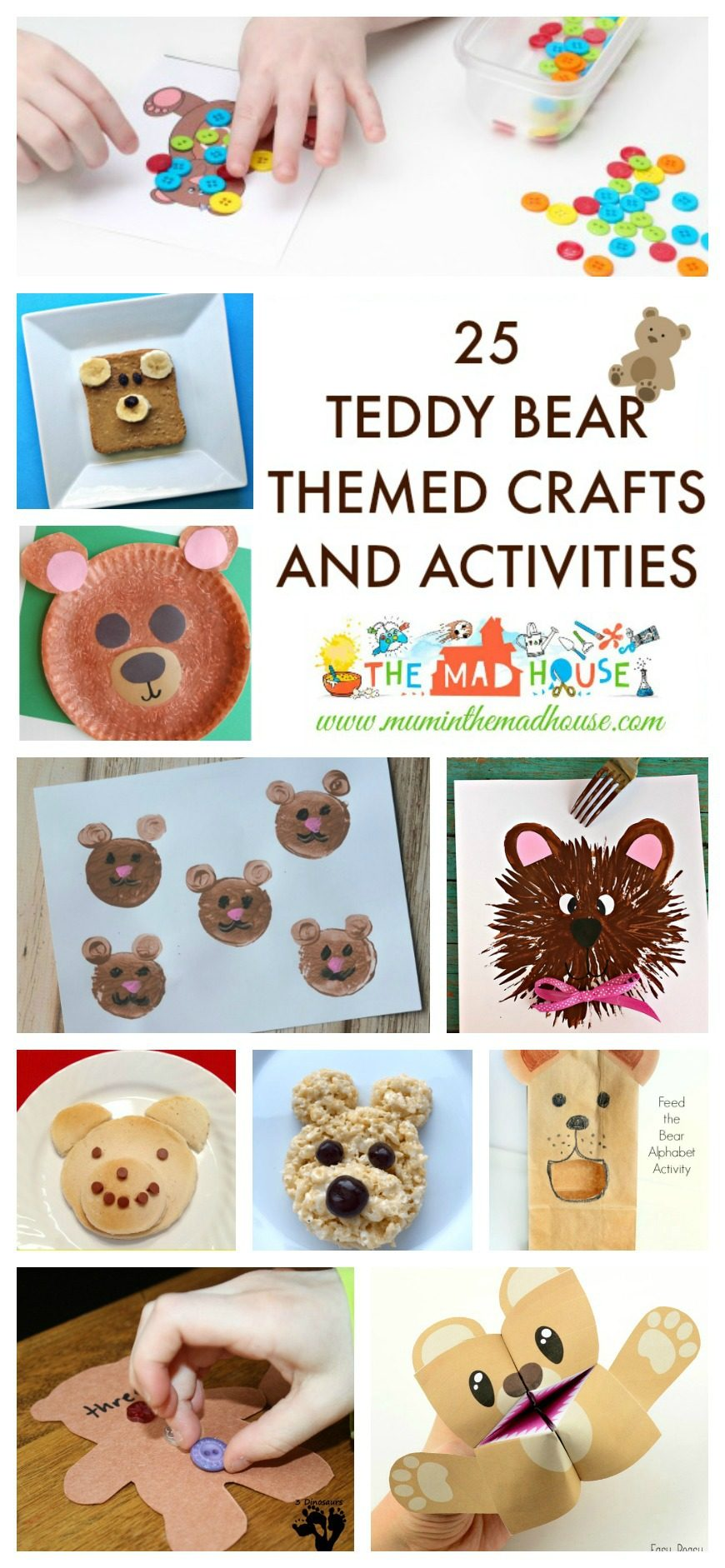 Celebrate all things Teddy Bear with this roundup of teddy bear activities, crafts and foods ideas to suit toddlers, preschoolers and school aged kids.  You will find lots of art and craft inspiration, along with free teddy bear themed printables perfect for children.