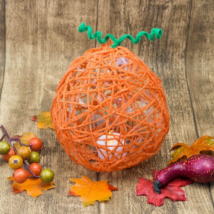Yarn Wrapped Pumpkin Lanterns