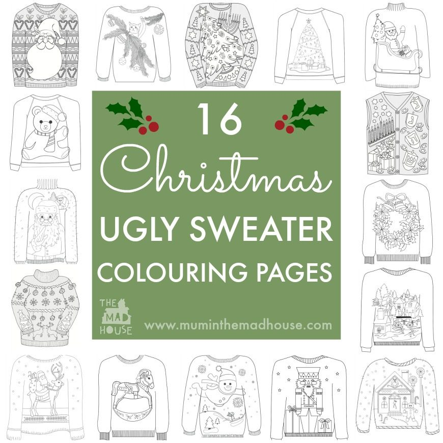 16 Ugly Christmas Sweater Colouring Pages