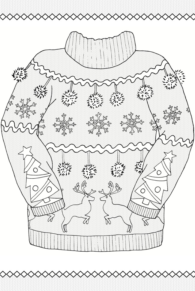 16 Ugly Christmas Sweater Colouring Pages - Mum In The ...