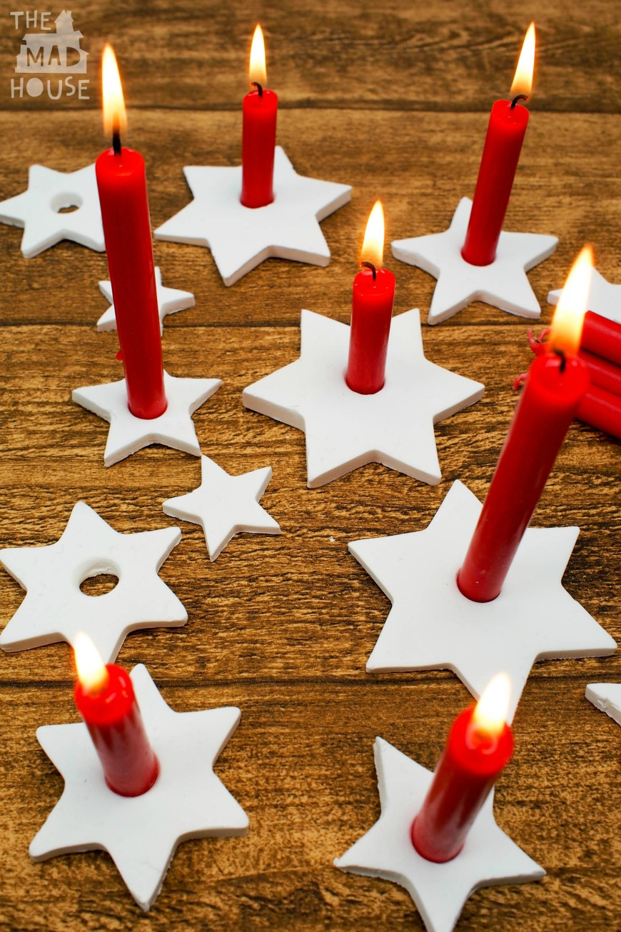 Diy clay star candle holders mum in the madhouse for How to make christmas candle holders
