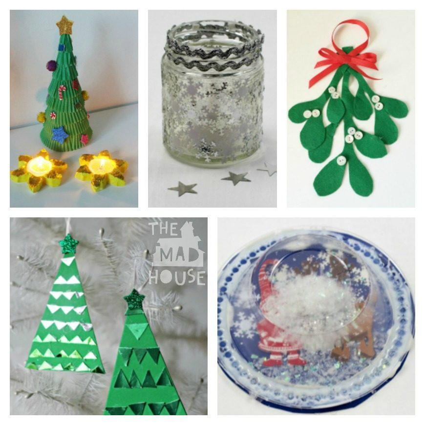 Over 35 christmas decorations crafts and gifts kids can for Christmas decorations to make at home with the kids