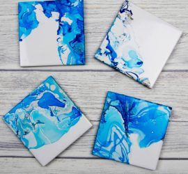 Nail Varnish Marbled Coasters