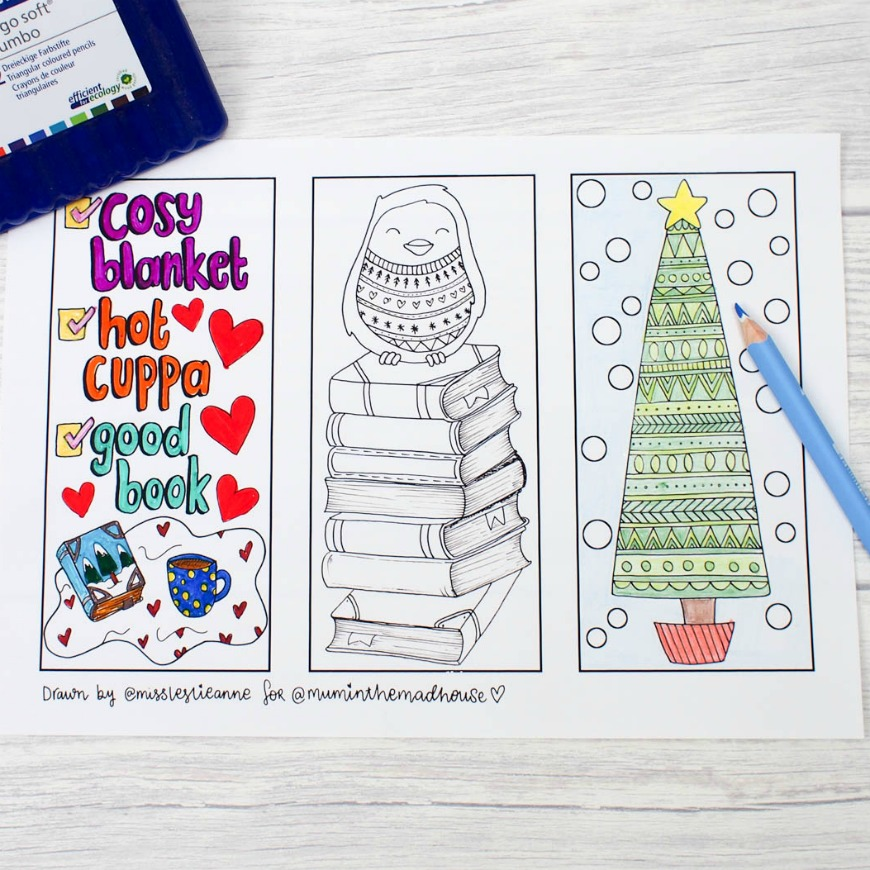 Winter Colouring Bookmarks - Mum In The Madhouse