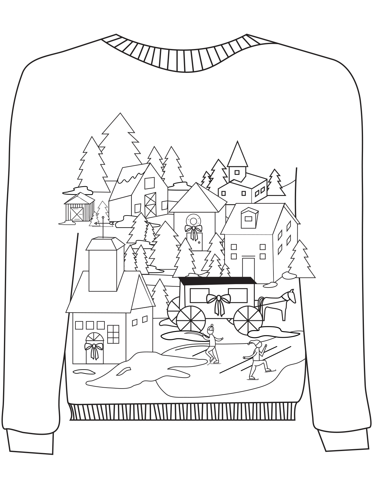 16 Ugly Christmas Sweater Colouring Pages Mum In The