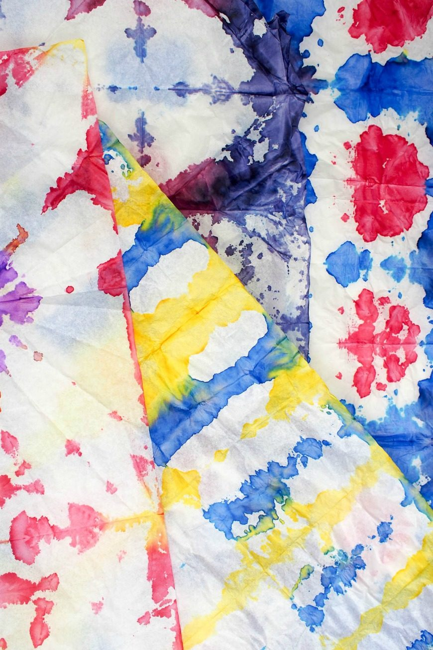 This DIY tie dye gift wrap is such a simple, fun process art activity. Make unique gift wrap with this fab tutorial. A great kids craft.