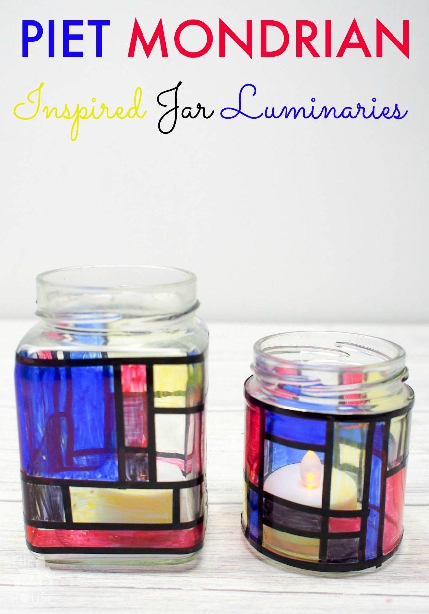 Mondrian Inspired Jar Luminaries