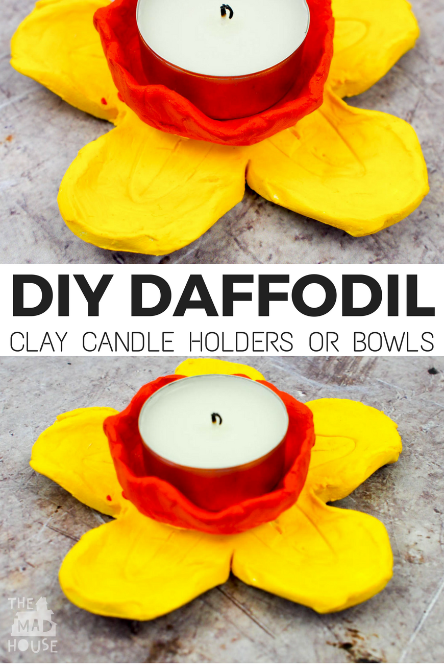 DIY Daffodil Clay Pots or Candle Holders. These DIY daffodil clay pots were are a great air drying clay craft and even better they double up as candle holders. A fantastic kid made gift.
