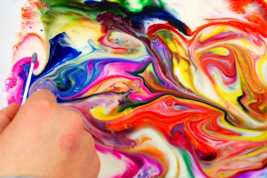 How to Make Rainbow Milk Marbled Paper Art