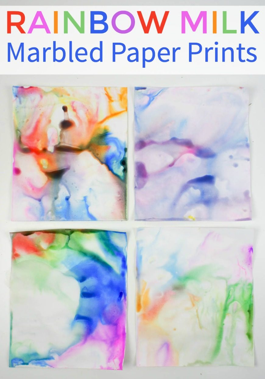 How to Make Rainbow Milk Marbled Paper Art - Rainbow milk marbled paper art is such a cool kids craft activity as it combines the milk fireworks science activity and process art