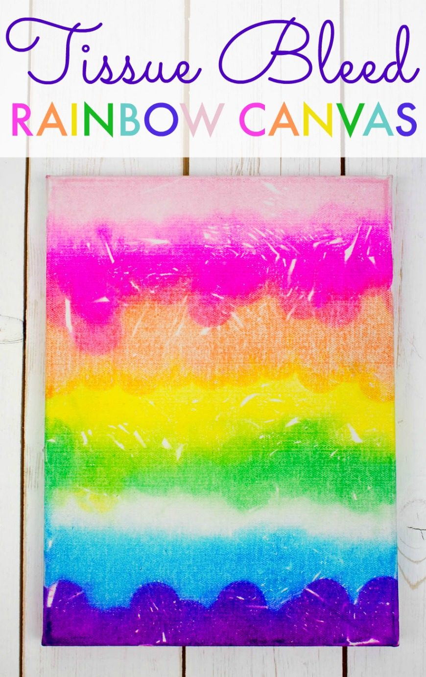 How to create a stunning bleeding tissue paper canvas art piece to keep. This process art is a fabulous and simple kids craft perfect for kids of all ages