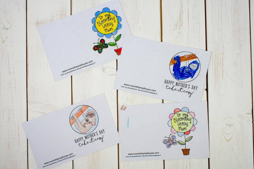 free printable Mother's Day cards to colour