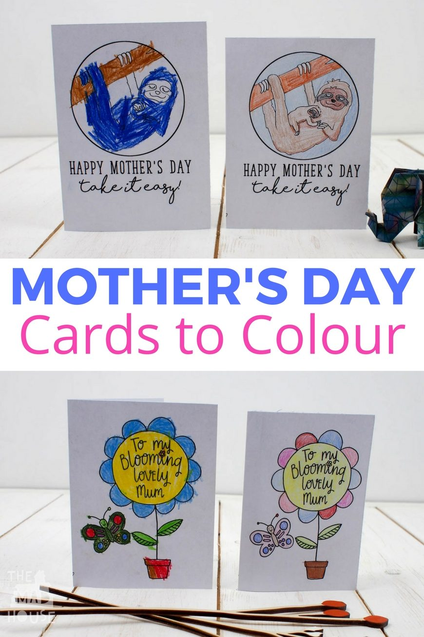 Stunning free printable Mother's Day cards to colour. 2 free brilliant cards to download for kids to colour for Mother's Day.
