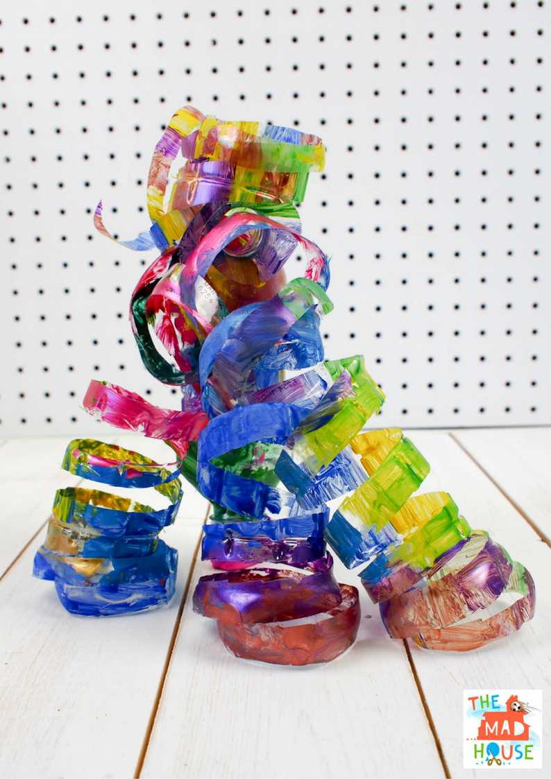 Plastic Bottle Sculpture inspired by Dale Chihuly. A beautiful child led process art activity using plastic bottles.