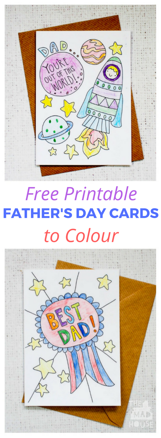 Free Father's Day Cards to print and colour in. Fabulous downloadable cards perfect for kids to colour in for Father's Day