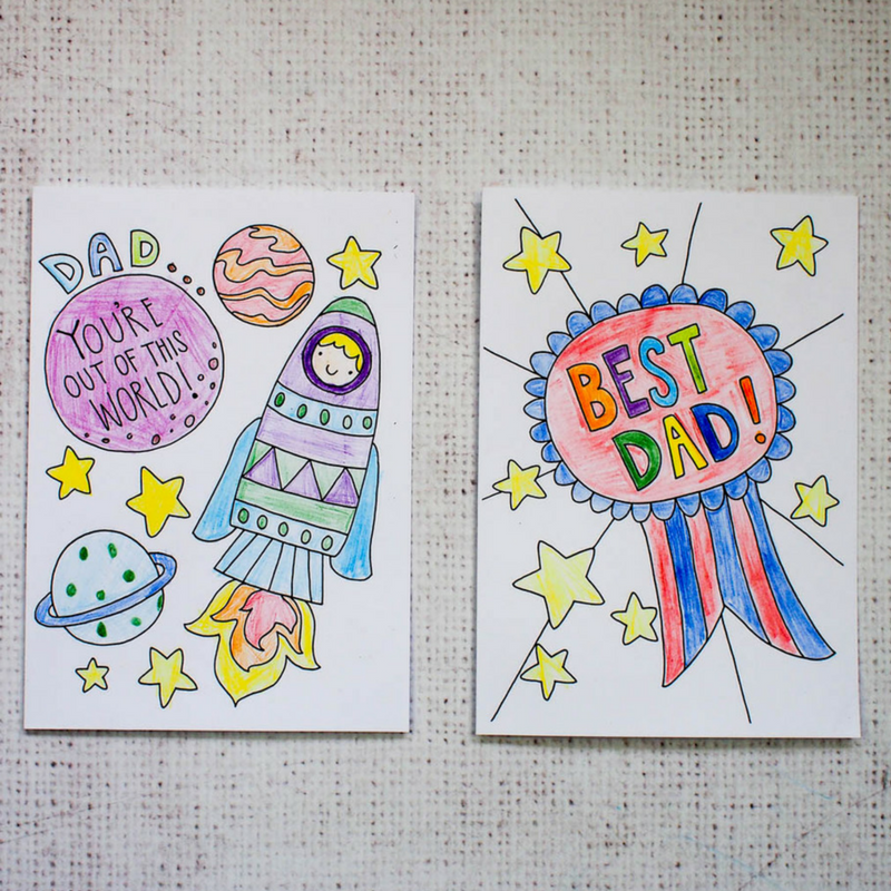 Free Father's Day Cards to print and colour in. Fabulous downloadable cards perfect fo kids to colour in for Father's Day