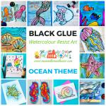 Ocean Watercolour Glue Resist Art Ideas