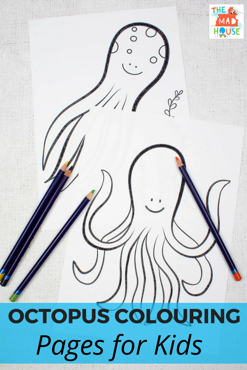 Octopus Colouring Pages for Kids - download these fab free colouring pages perfect for ocean crafts
