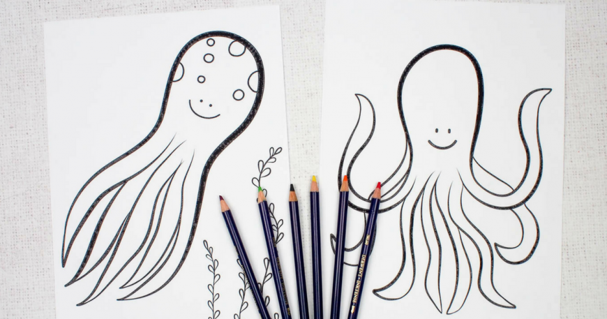 Octopus Colouring Pages for Kids