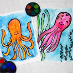 Octopus watercolour glue resist art
