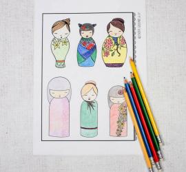 Free Kokeshi Colouring Sampler - Adult Colouring