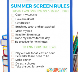 Free Printable Summer Screen Rules - Encourage a balance with screen time and technology this summer with these simple summer screen rules.