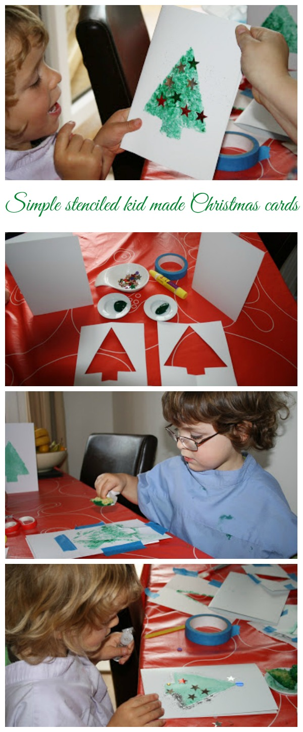 Simple stenciled kid made christmas cards