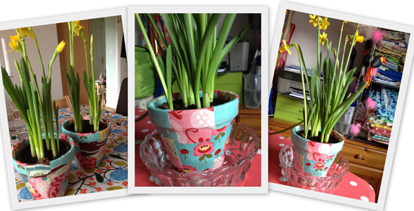 Use scraps of fabric to make beautiful fabric patchwork plant pots.  These make beautiful gifts and are simple to make.