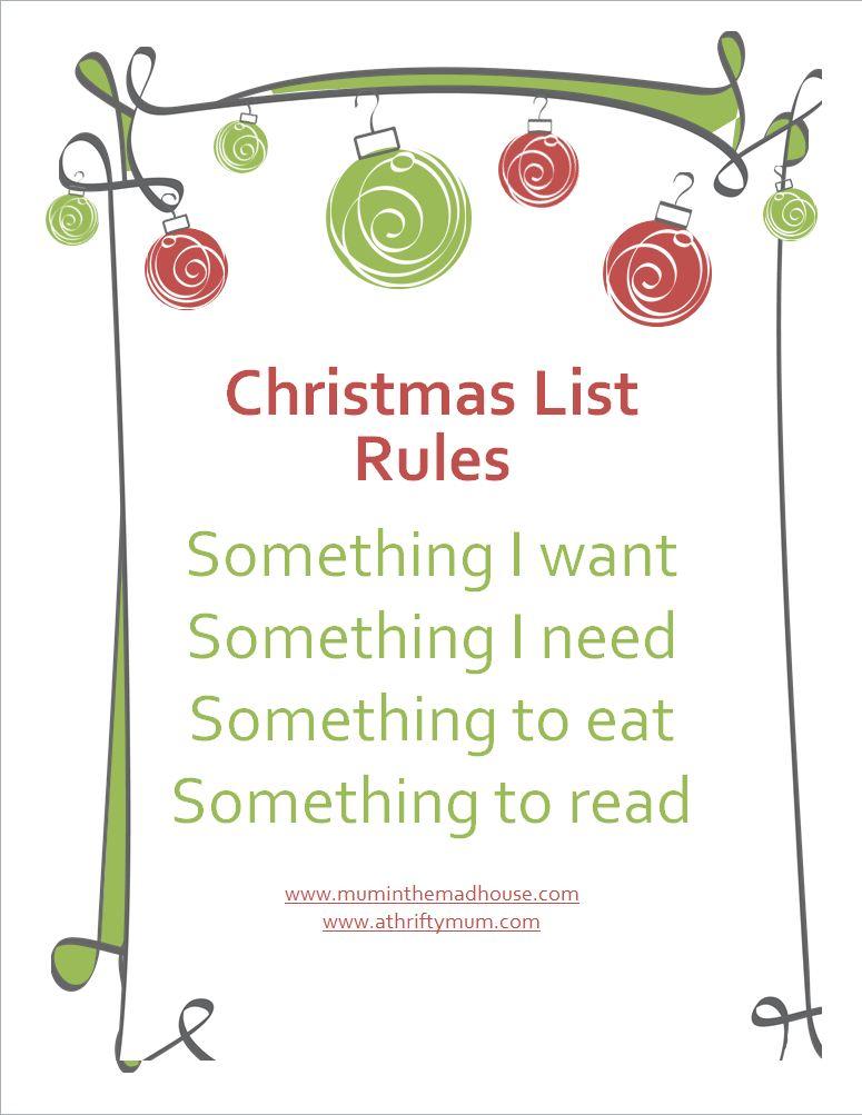 Christmas list rules