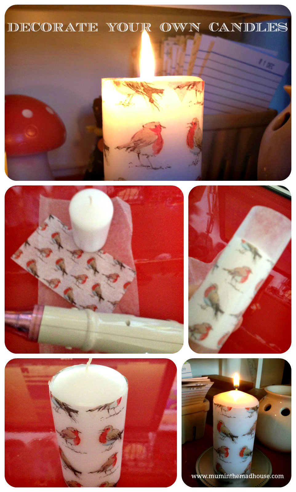 Homemade Christmas Decorate A Pillar Candle Mum In The