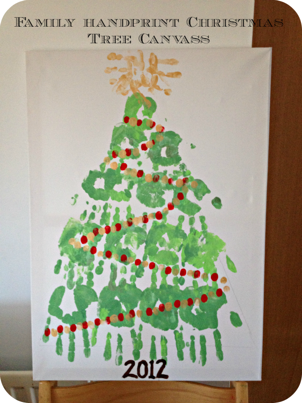 Family Hand Print Christmas Tree Canvass Mum In The Madhouse
