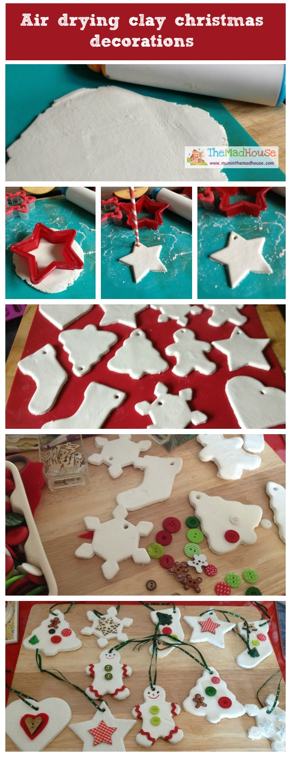 Air drying clay ornaments - These beautiful Christmas decorations are made using air drying clay and are a fun festive DIY