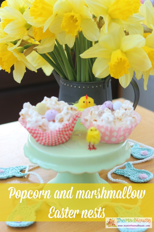 popcorn and marshmallow easter nests