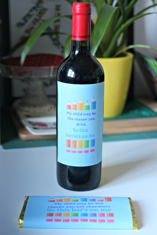 wine and chocolate teacher gifts