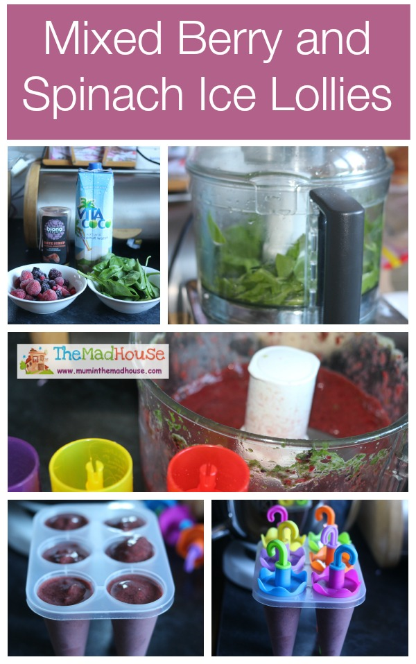 Mixed berry and spinach ice lollies