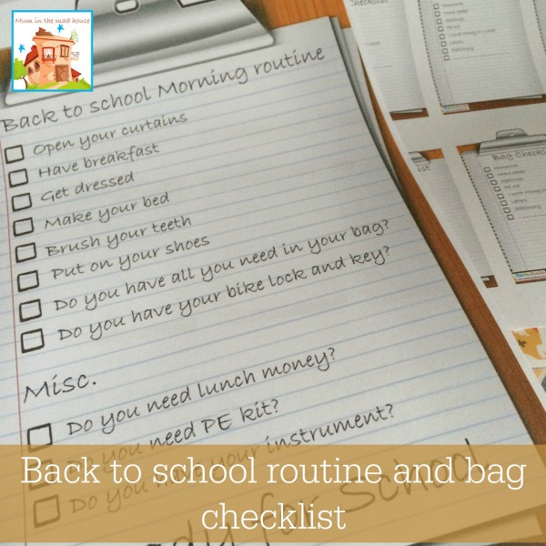 back to school routine and bag checklist