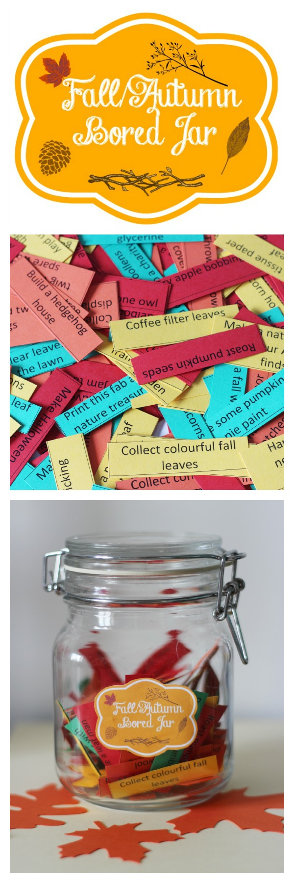Fall autumn bored jar and activity list