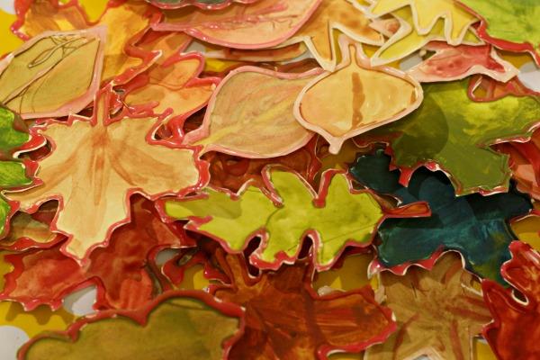 watercolour resist leaves