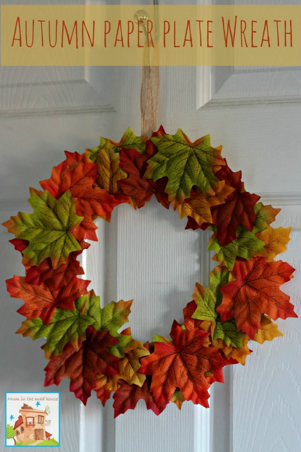Autumn fall paper plate leaf wreath