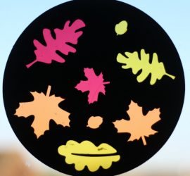 Autumn sun catcher. Make a beautiful cellophane sun catcher to celebrate fall. The black background really makes the autumnal colours pop. This is a super fun DIY craft activity for kids.