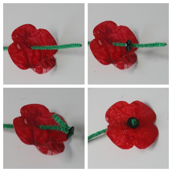 Poppy craft with pipe cleaners