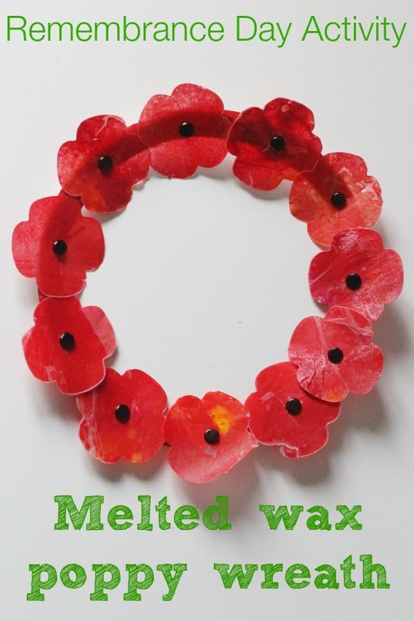 melted wax poppy wreath