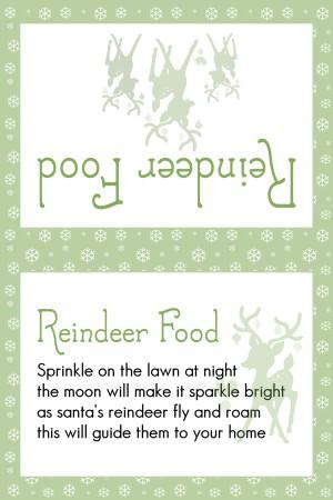 Reindeer Food Med Green Snowflakes