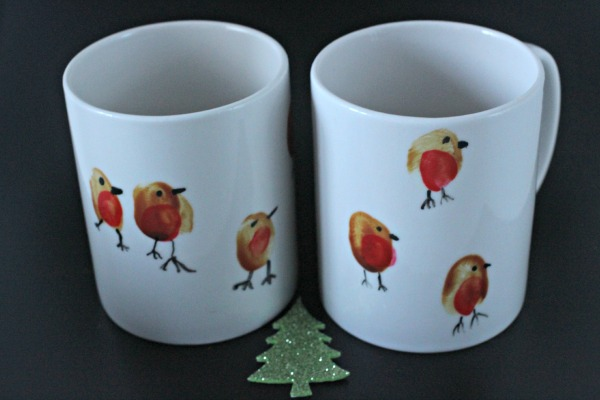 Robin thumbprint mugs