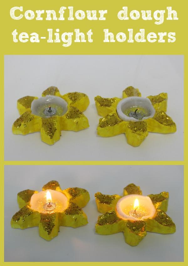 cornflour dough tealight holders
