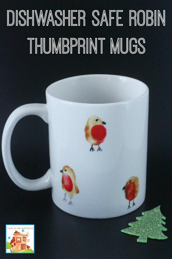dishwasher safe robin thumbprint mugs