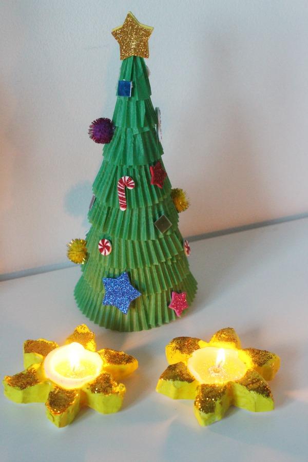 tea light holders made with cornflour dough