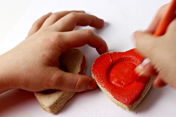 Mini painting salt dough hearts