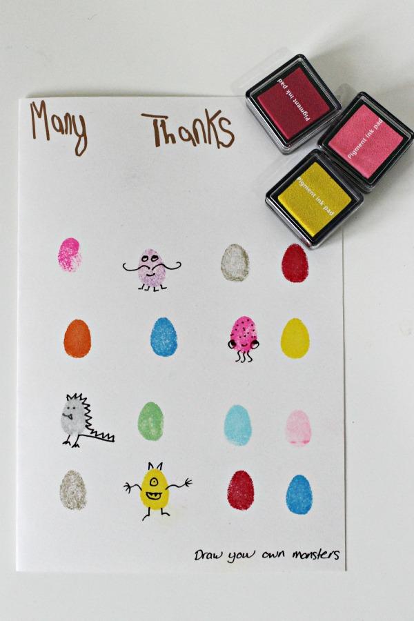 Fingerprint Monster Thank Cards on Preschool Fingerpaint