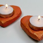 Salt dough valentine candle holders